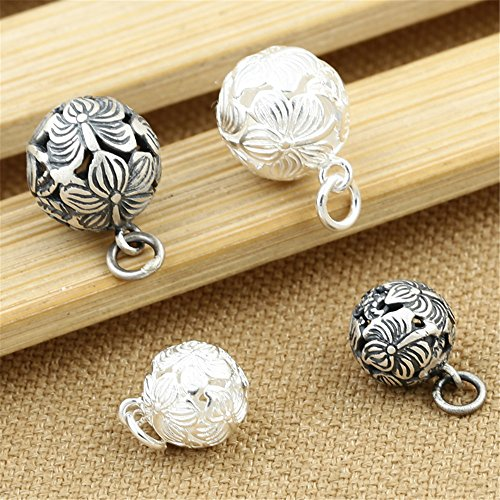 (Luoyi 1pc Sterling Silver Rose Spherical Pendant/ Dangle, Hollow Orchid Flower (G057Z) (13mm( Thai Sterling Silver)))