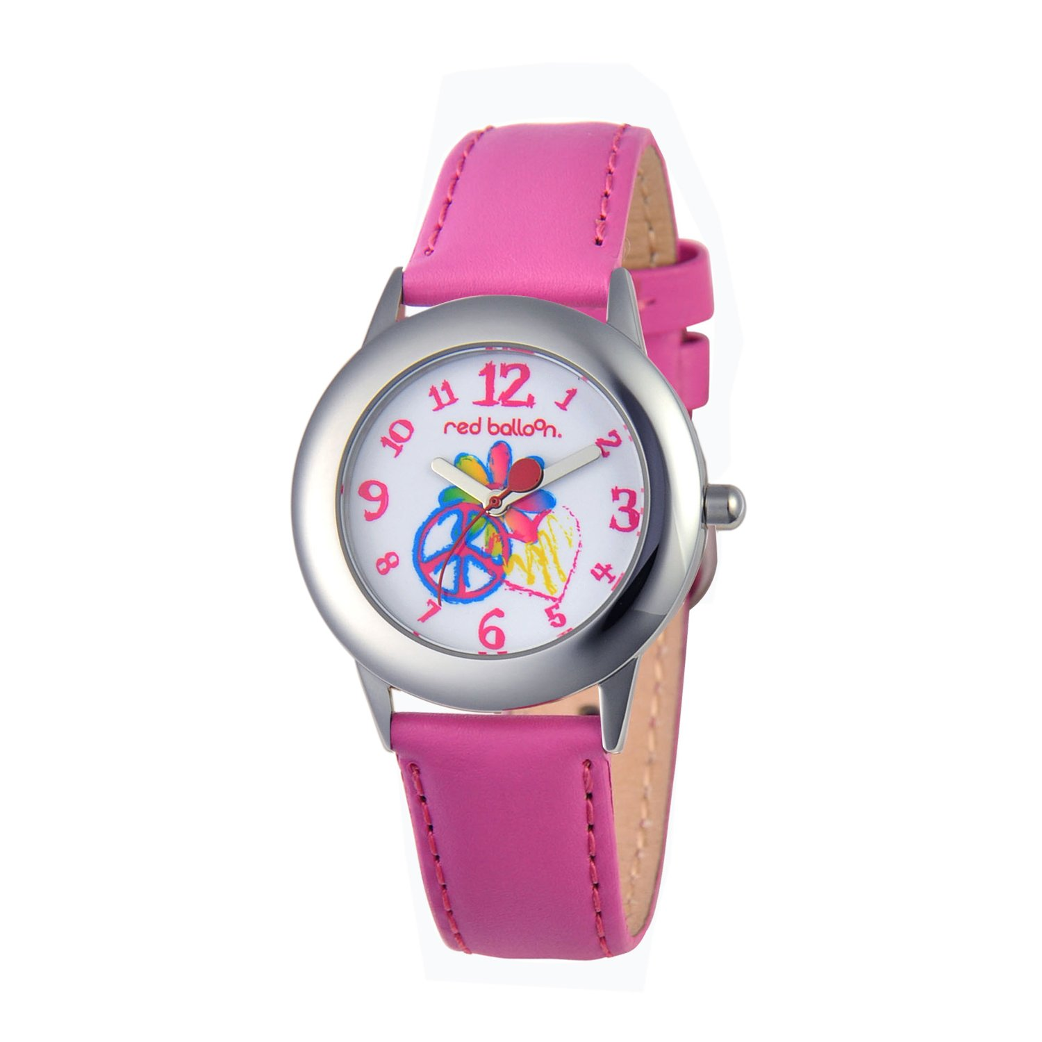 Red Balloon Kids' W000342 Peace Love and Happiness Tween Stainless Steel Peach Leather Strap Watch