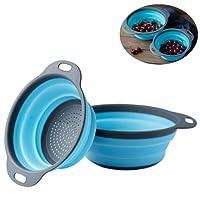 2 Pezzi Pieghevole del silicone Colander/Strainer Pieghevole Cucina Frutta Verdure Basket, include 2 formati 8 e 9,5 pollici