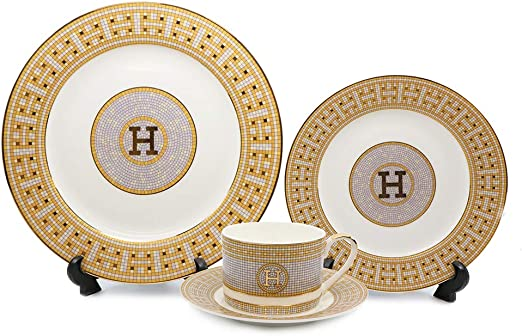 24K Gold Greek Key Bone China EURO Porcelain 16-Pc White Dining Set