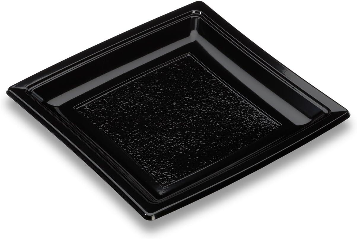 GUILLIN–quadripack ac185N Pack de 8Bolsas de 50Platos Cuadrados Reutilizable, plástico, Negro, 18.39X 18.39X 1.8cm