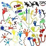 Wankko 72 Pieces Vinyl Stretchy Sticky Toy Assortment Including 12 Wall Climber Men, 12 Sticky Animals, 12 Large Sticky Hands, 12 Sticky Hammers, 12 Stretchy Flying Frogs and 12 Sticky Frogs.