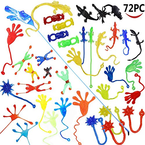 (Wankko 72 Pieces Vinyl Stretchy Sticky Toy Assortment Including 12 Wall Climber Men, 12 Sticky Animals, 12 Large Sticky Hands, 12 Sticky Hammers, 12 Stretchy Flying Frogs and 12 Sticky Frogs.)