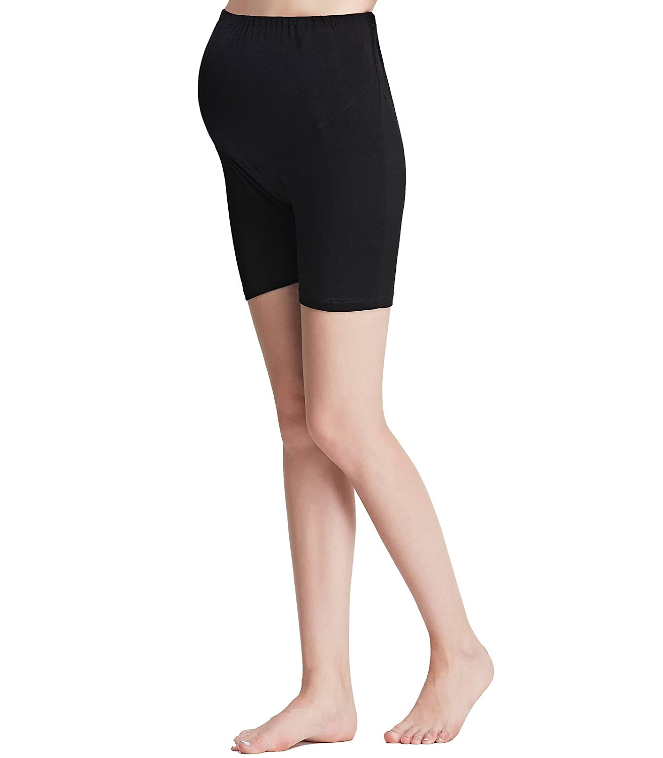 Liang Rou Maternity Belly Support Mini-Ribbed Stretch Safety Short Leggings Baifu International Limited ML8130-BK-M