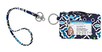 best cheap bbd3f a86e7 Vera Bradley Zip Id Case and Lanyard in Ink Blue