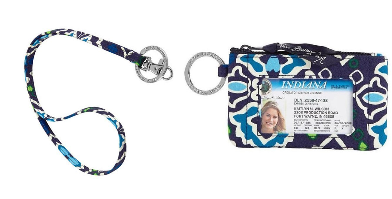 Vera Bradley Zip Id Case and Lanyard in Ink Blue