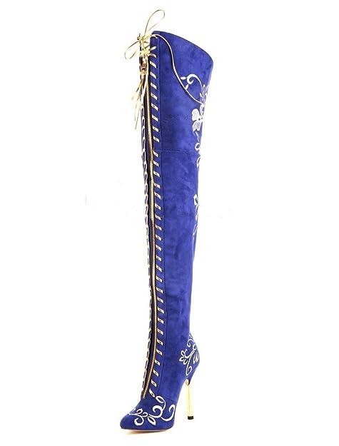 Kitzen Botas De Mujer Botas Altas hasta El Muslo Sobre La Rodilla Elegante Moda Bordado Tacones Altos Boda Fiesta Vestido De Noche Azul: Amazon.es: Zapatos ...