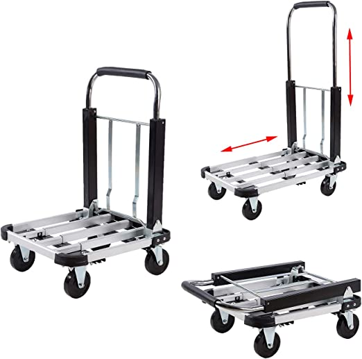 330Lbs Portable Cart Folding Dolly Push Hand Truck Collapsible Trolley Luggage