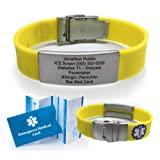 Silicone Sport Medical Alert ID Bracelet - Yellow