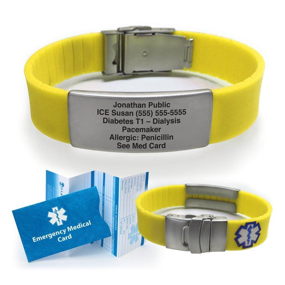 Silicone Sport Medical Alert ID Bracelet - Yellow