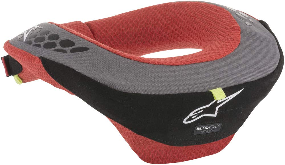 Alpinestars Black/Red Sequence Youth Neck Support Brace Size Small/Medium with Double Density Core for Energy Dissipation and Hard Top Section for Force Distribution 6741018-13-S/M by Alpinestars