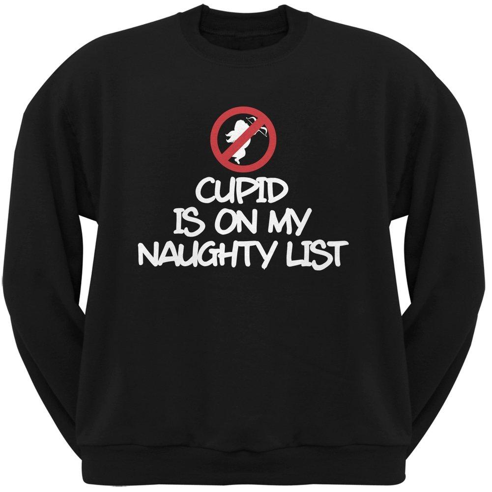 Cupid is on My Naughty List Black Adult Crew Neck Sweatshirt