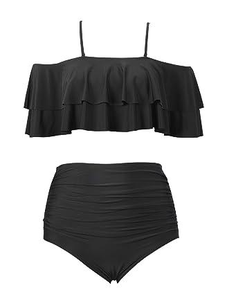 Amazon.com  zerocoast Women s High Wasited Bottom Off Shoulder Crop Bikini  Swimsuits  Clothing 4afd90556d