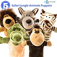 """Animal Hand Puppets 5-Piece Set - Premium Quality with Movable Open Mouths, 9.5"""" Soft Plush Hand Puppets For K"""