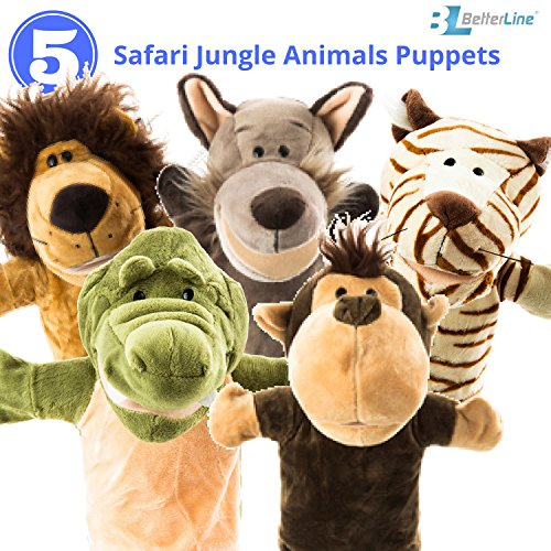 "Animal Hand Puppets 5-Piece Set - Premium Quality with Movable Open Mouths, 9.5"" Soft Plush Hand Puppets For Kids- Perfect For Storytelling, Teaching, Preschool - by Better Line (Safari Animals)"