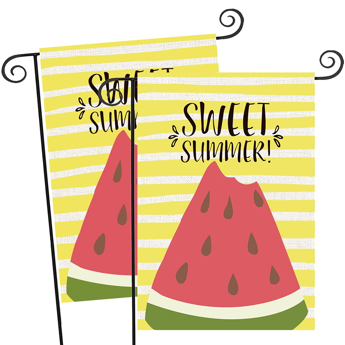 FUNNISM 2PCS Sweet Summer Vertical Garden Flag,Double-sided Yellow Stripe Watermelon Garden Burlap Banner, Yard, Porch, Patio, Home, Farmhouse, Garden, Outdoor & Indoor Summer Decorations(12.5