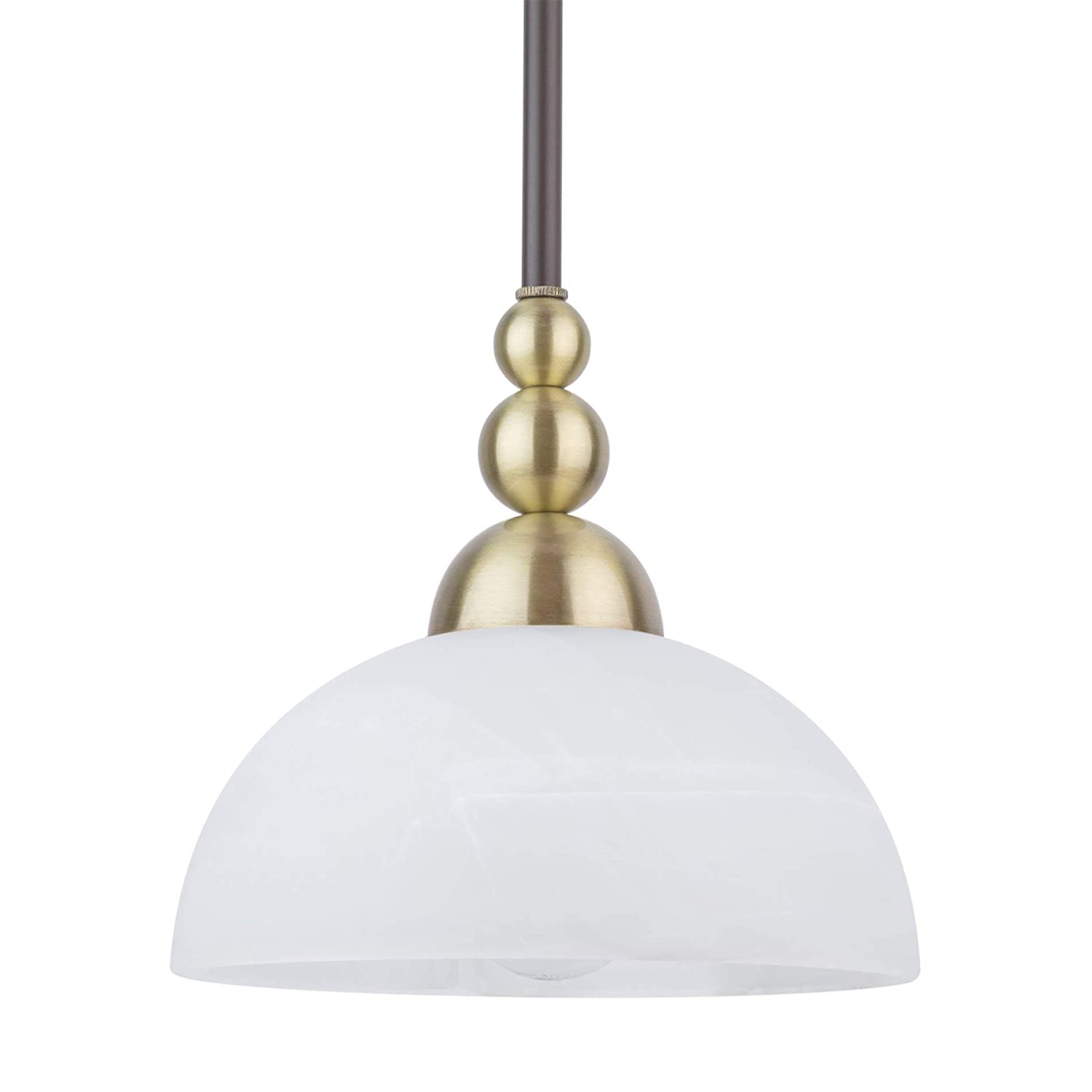 """Kira Home Athena 8"""" Modern Pendant Light + Alabaster Glass Shade, Antique Brass Accents, Adjustable Hanging Height, Oil Rubbed Bronze Finish"""