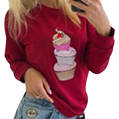 Sudaderas Mujer Sudadera Estampadas Camisetas Manga Larga Sudaderas Oversize sin Capucha Deportivas Chica Jerseys Pullover Cuello Redondo Top Juveniles ...