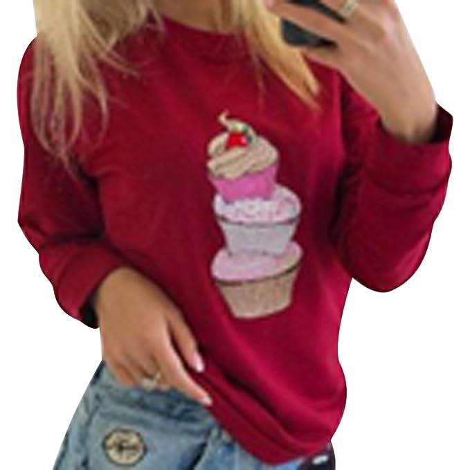 Sudaderas Mujer Sudadera Estampadas Camisetas Manga Larga Sudaderas Oversize sin Capucha Deportivas Chica Jerseys Pullover Cuello