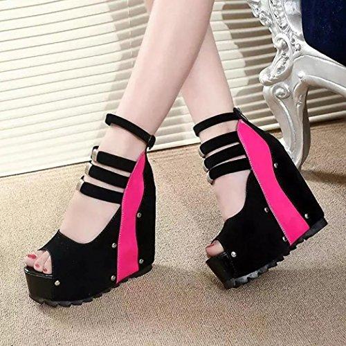 hunpta Women Thick-Bottom Sloped Sandals Patchwork Super High-Heeled Wedges Platform Shoes Hot Pink IvSMsNfo