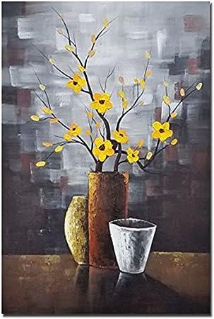 opera darte floreale moderna 100/% dipinta a mano e incorniciata con motivo astratto floreale Wieco Art pronta da appendere per soggiorno da parete olio su tela decorazione della casa e delle pareti camera da letto