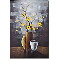 Wieco Art - Silent Beauty Modern 100% Hand-Painted Artwork Contemporary Abstract Flower Oil Paintings on Canvas Wall Art for Wall Decorations Home Decoration