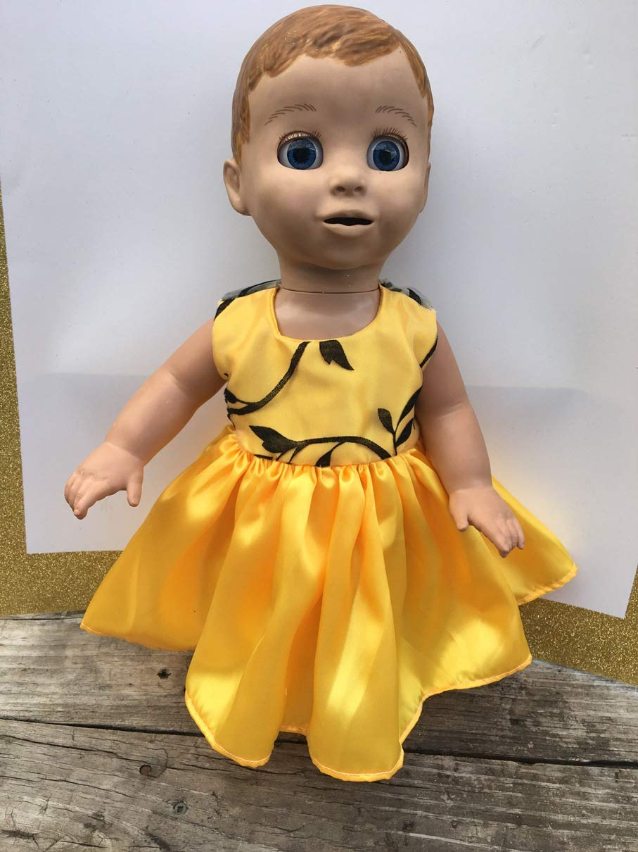 Fits Luvabella Baby Girl Doll Clothes Yellow Party Dress Handmade NO DOLL