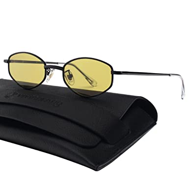 058d5b13d42 VIVIENFANG 90 s Vintage Small Oval Sunglasses Tinted Lens Tiny Metal Shades  For Men Women G87810B Black