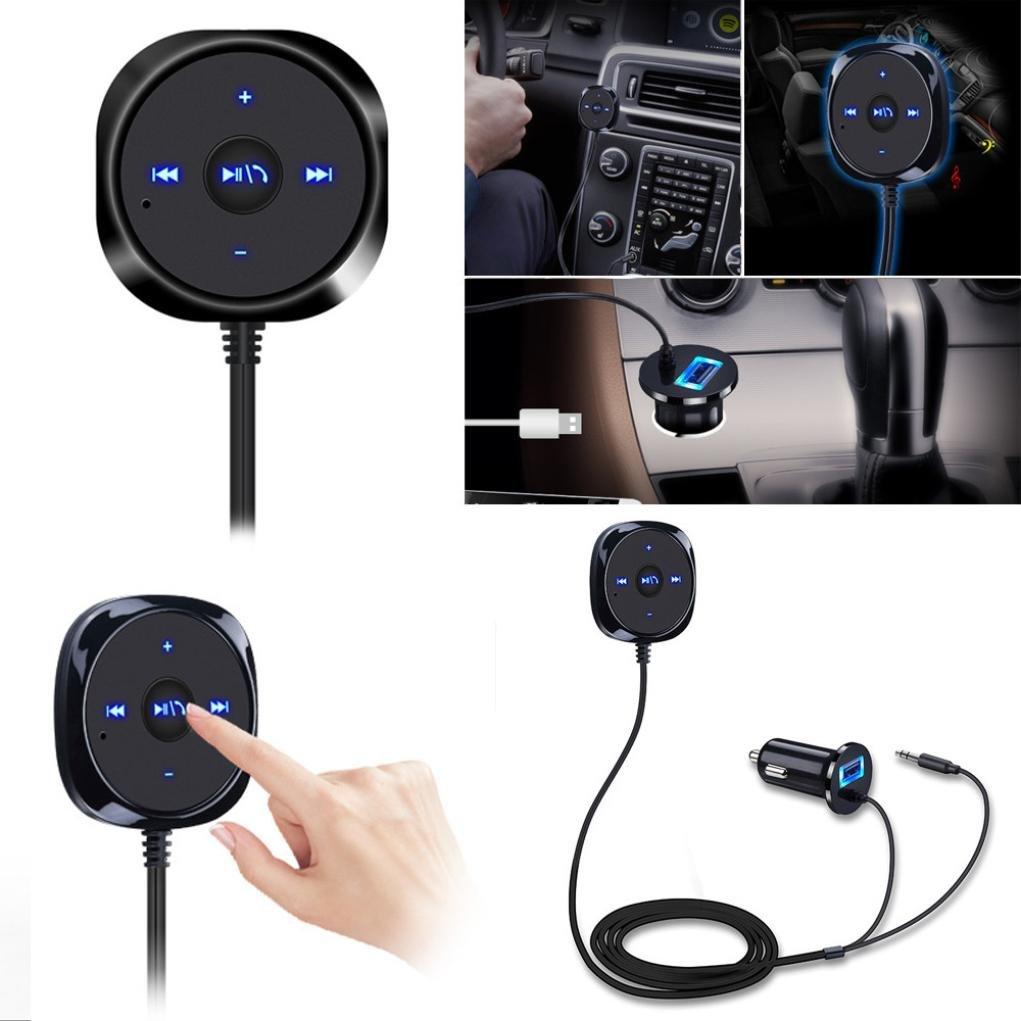 Amlaiworld Bluetooth 4.0 Ricevitore di musica wireless 3, 5 mm Adattatore vivavoce da auto AUX Speaker