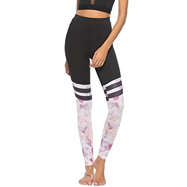 SYGoodBUY Women s Sports Pants Jogging Pants Yoga Pants Stripe Fabric Printing  Compression Running Tights Pants Fitness fb00ee34c8f1