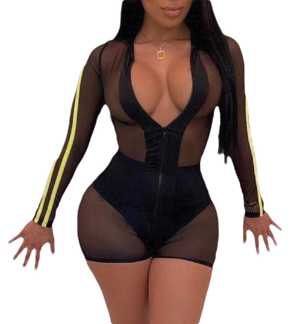 Women Stripes Mesh Zip Up V Neck Long Sleeve Short Pants Bodycon Jumpsuit