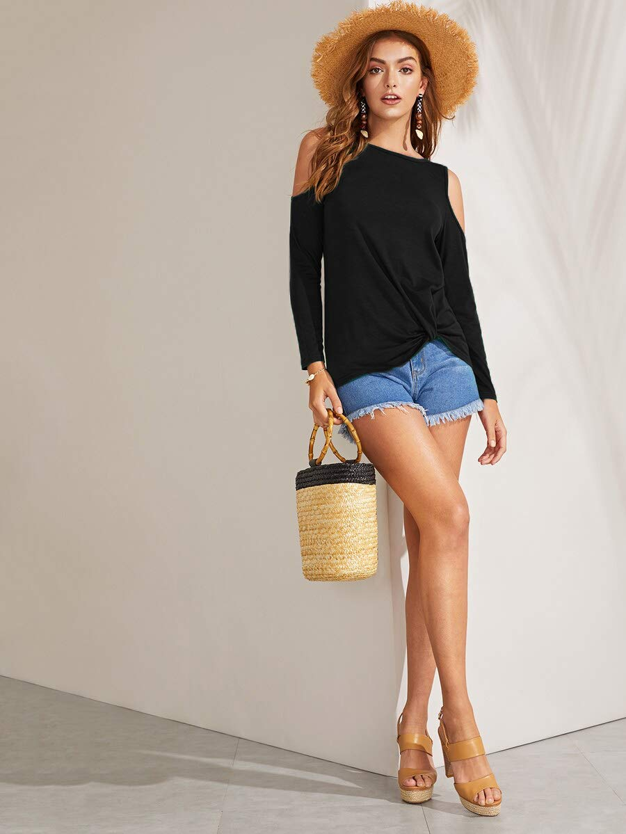 Eanklosco Womens Long Sleeve Cold Shoulder Cut Out T Shirts Casual Knot Tunic Tops (Black, XL)