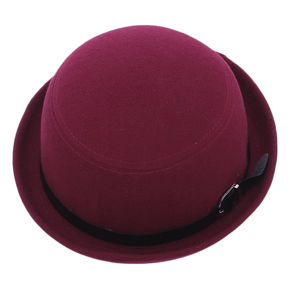 Bigood Women Trendy Roll Brim Buckle Bowler Hat Cloche Billycock Wine Red