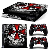 MightyStickers Protective Vinyl Skin Decal Cover for Sony PlayStation 4 PS4 Console & Remote DualShock 4 Controller Sticker Skins - Resident Evil Red Umbrella Corp Logo