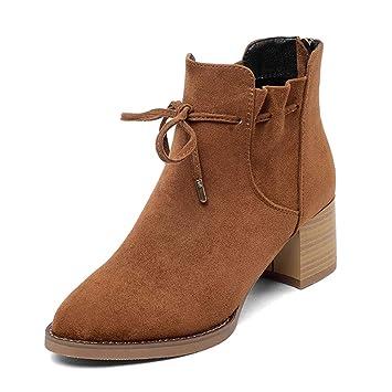 67b0a3c9755 Chaussures femme HWF Bottes Courtes Femme Hiver Talons Hauts Pointu  Chaussures en Coton Chaud épais