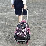 Coofit Rolling Backpack Cute School Backpack Kids Backpack With Wheels Black