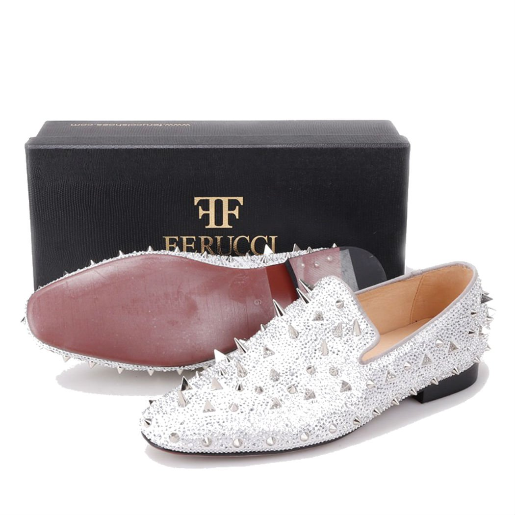 8457b59c672 FERUCCI Men Silver Spikes Slippers Loafers Flat with Crystal GZ Rhinestone