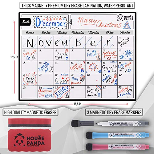 Magnetic Dry Erase Calendar for Refrigerator 2019 - Monthly Planner White Board for Family - 3 Fine Tip Markers & Large Eraser with Magnets - Organizer for Kitchen Fridge - Big Cute Magnet Whiteboard Photo #9