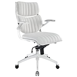 Modway Escape Ribbed Faux Leather Ergonomic Swivel Office Chair in White