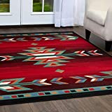 Cheap Home Dynamix Premium Sagrada Area Rug by Modern Southwestern Style Living Room Rug | Bold Aztec Print | Black, Red, Multicolor Pattern 1'9″ x 7'2″ Runner