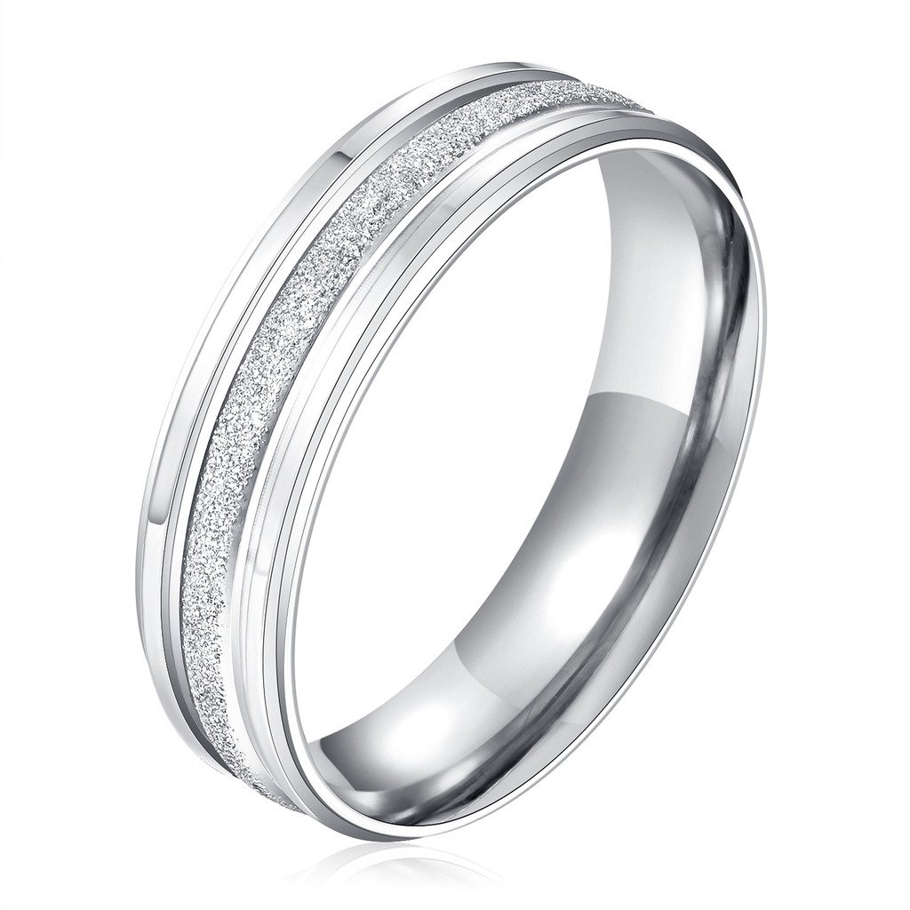 Stainless Steel Couple Wedding Bands for Him and Her 4MM Womens Promise Engagement Rings Size 7