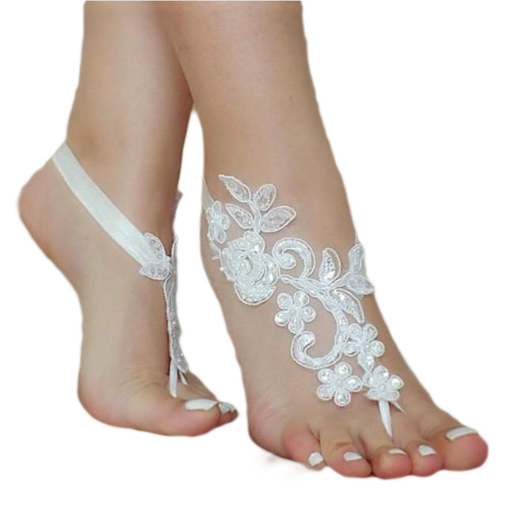 ASA Bridal Summer Crochet Barefoot Sandal Lace Anklets Wedding Prom Party Bangle-white
