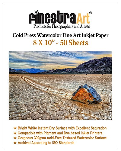 8X10 Cold Press Watercolor Fine Art Inkjet Paper 300gsm 50 Sheets