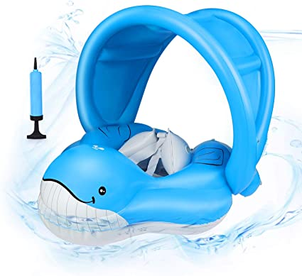 Non-Inflatable Baby Smart Swimming Float Ring Trainer With Sunshade Swimming Flo