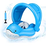 EKOOS Baby Swimming Float Ring with Canopy Blue Whale Inflatable Waist Float Ring Pool for Learning Swim Trainer for Age…