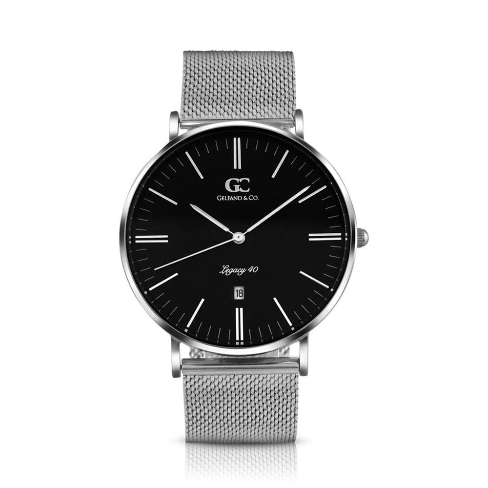 Gelfand & Co. Duane 40mm Unisex Silver with Black Dial Silver Mesh Band Minimalist Watch