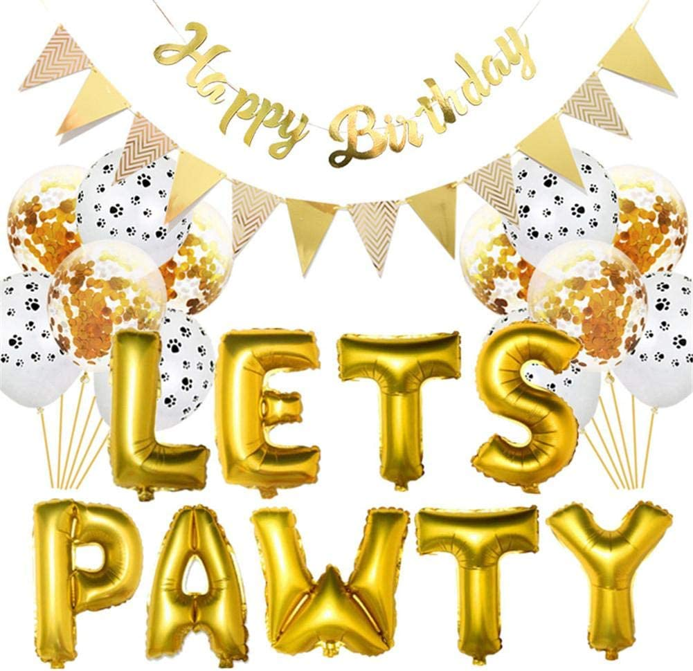 evergremmi LETS PAWTY Dog Cat Party Balloon Happy Pet Birthday Party Kit Pet Birthday Party Supplies Package Pet Birthday Party Wall Decoration Confetti Balloon and Banner