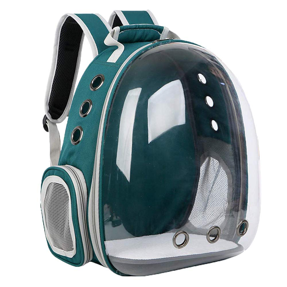 Pet Backpack Portable Carrier Bubble Breathable Capsule Space Design Transparent Kitty Puppy Travel Bag (Dark Green)