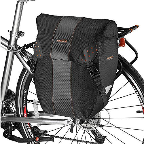 - Ibera Bicycle PakRak Clip-On Quick-Release All Weather Single Pannier with Rain Cover