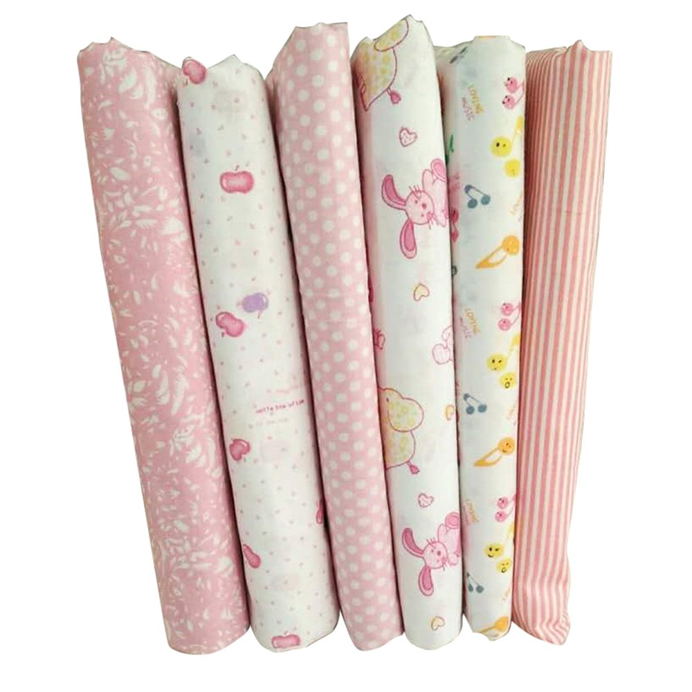 MeineBeauty 7 Stück Patchwork Stoffe Rosa Quadrat DIY Gewebe Set Gemischte Baumwolletuch Stoffpaket zum Nähen Tischdecke mit vielfältigem Muster(25cmx25cm)